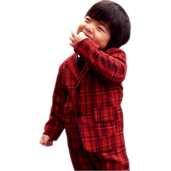 子供 スーツ 男の子 キッズスーツ 3点セット (レッドチェックスーツ(S) 100) 子供服 f00