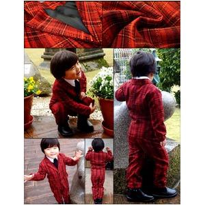 子供 スーツ 男の子 キッズスーツ 3点セット (レッドチェックスーツ(S) 100) 子供服  f05