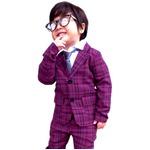 子供 スーツ 男の子 キッズスーツ 3点セット (パープルチェックスーツ(XL)130) 子供服