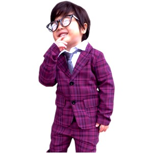 子供 スーツ 男の子 キッズスーツ 3点セット パープルチェックスーツ(M) 110) 子供服