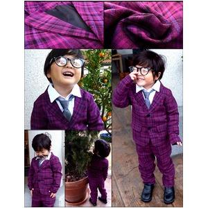 子供 スーツ 男の子 キッズスーツ 3点セット (パープルチェックスーツ(S) 100) 子供服