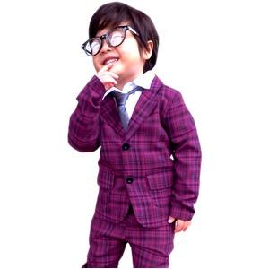 子供 スーツ 男の子 キッズスーツ 3点セット (パープルチェックスーツ(XS) 95) 子供服