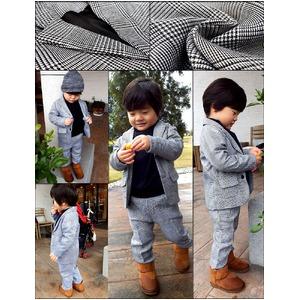 子供 スーツ 男の子 キッズスーツ 3点セット (グレンチェックスーツ(L) 120) 子供服