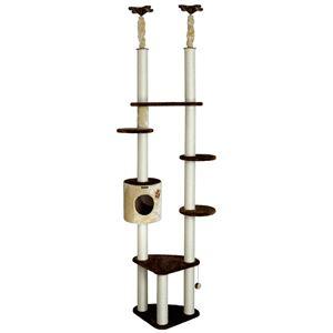 【ペット用品】【猫用タワー】 ドギーマンハヤシ キャティースクラッチリビングツリー ダブル - 拡大画像
