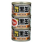 (まとめ)アイシア 毎日 黒缶 ささみ入りかつお 160g×3P【猫用・フード】【ペット用品】【×18セット】