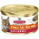 (まとめ)日本ヒルズ・コルゲート SDアダルト成猫用レバー&チキン82g (猫用・フード)【ペット用品】【×24 セット】