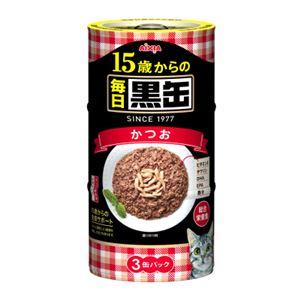 (まとめ)アイシア 毎日黒缶 15歳からのかつお160g×3P (猫用・フード)【ペット用品】【×18 セット】