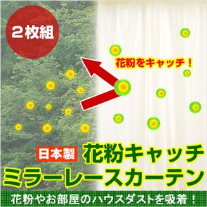 花粉キャッチ ミラーレースカーテン 100×198cm 2枚組 - 拡大画像