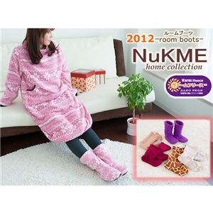 NuKME(ヌックミィ) 2012年Ver ルームシューズ Lサイズ スノー柄/ベージュ - 拡大画像