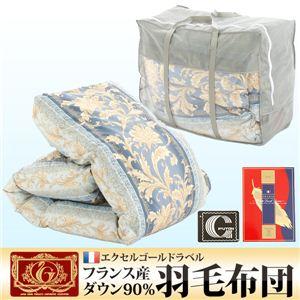 【エクセルゴールドラベル】フランス産ダウン90%羽毛布団 ブルー - 拡大画像
