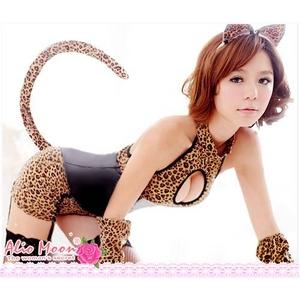 豹柄♪セクシーバニーガールコスプレ4点セット/コスプレ/コスチューム/衣装/f330 - 拡大画像