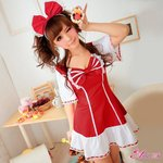 メイド服/コスプレ/コスチューム/衣装/ウェイトレス/キュートメイド/赤 白/z805