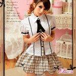 お嬢様系私立制服☆茶色チェックスクールガール☆学生服/コスプレ/コスチューム/衣装/ z694