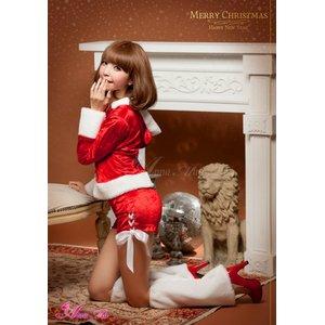 【クリスマスコスプレ】クリスマス☆サンタクロースコスプレセット/コスプレ/コスチューム/衣装/s023 レッド