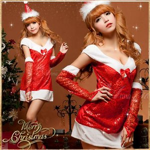 クリスマス☆サンタクロースコスプレセット/コスプレ/コスチューム/衣装/s027 - 拡大画像