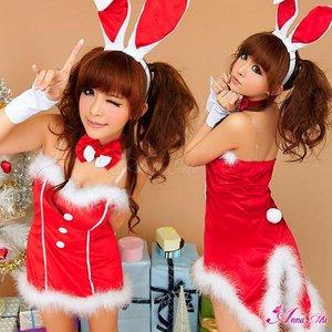 【クリスマスコスプレ】タキシード風サンタバニーコスチューム5点セット/コスプレ/コスチューム/衣装/c371 - 拡大画像
