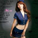 新作 セクシーミニスカ スチュワーデスコスチューム3点セット/コスプレ/コスチューム/衣装/ z651