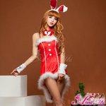 【クリスマスコスプレ】タキシード風サンタバニーコスチューム5点セット/コスプレ/コスチューム/衣装/c371-red