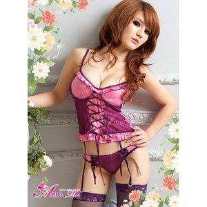 ピンク×パープルランジェリー4点セット/コスプレ/コスチューム/sexyランジェリー/下着/z337-d