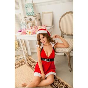 大きいサイズ☆Vライン胸元と襟ファーで小悪魔サンタ演出♪ファー付サンタコスプレ☆ KS88675L-3L