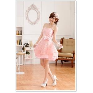 大きいサイズ☆超ふんわりシフォンチュール♪CUTE姫系ベアトップドレス☆イベント/パーティ☆ K9702 ピンク LL f04