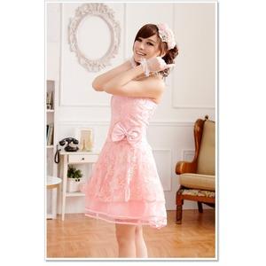 大きいサイズ☆超ふんわりシフォンチュール♪CUTE姫系ベアトップドレス☆イベント/パーティ☆ K9702 ピンク LL f05