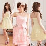 大きいサイズ☆超ふんわりシフォンチュール♪CUTE姫系ベアトップドレス☆イベント/パーティ☆ K9702 ピンク 4Lの画像