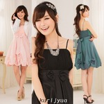 大きいサイズ☆ふんわりバルーンで愛されシルエット♪フロント&バックリボンCUTEドレス☆ K9116 ピンク 3L