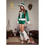 【クリスマスコスプレ】クリスマス☆サンタクロースコスプレセット/コスプレ/コスチューム/衣装/s023 グリーン