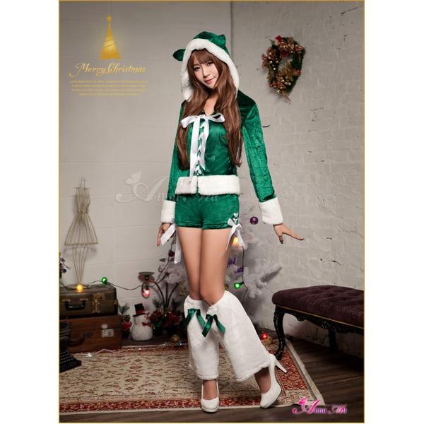 クリスマス☆サンタクロースコスプレセットs023 グリーン