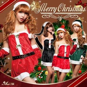 【クリスマスコスプレ】サンタクロースコスプレセット/コスプレ/コスチューム/衣装/s005  ブラック