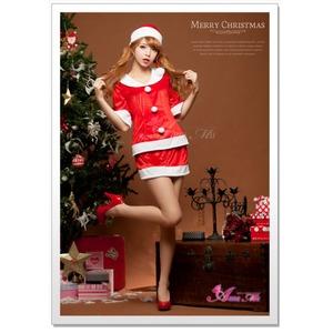 【クリスマスコスプレ】サンタクロースコスプレセット/コスプレ/コスチューム/衣装/s020 レッド - 拡大画像