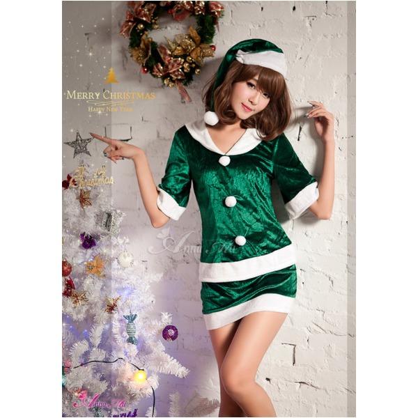 【クリスマスコスプレ】サンタクロースコスプレセット/コスプレ/コスチューム/衣装/s020 グリーンf00