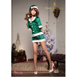 【クリスマスコスプレ】サンタクロースコスプレセット/コスプレ/コスチューム/衣装/s020 グリーン h02