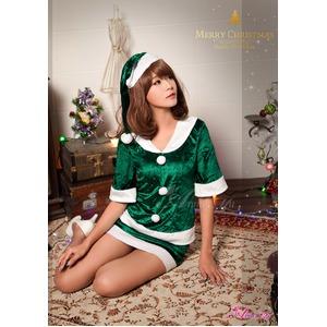 【クリスマスコスプレ】サンタクロースコスプレセット/コスプレ/コスチューム/衣装/s020 グリーン h03