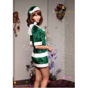 【クリスマスコスプレ】サンタクロースコスプレセット/コスプレ/コスチューム/衣装/s020 グリーン f04