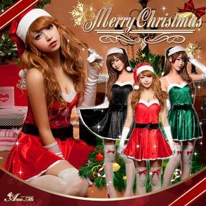 【クリスマスコスプレ】ミニスカサンタワンピコスチューム6点セット/コスプレ/コスチューム/衣装/c335 グリーン - 拡大画像