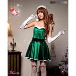 【クリスマスコスプレ】ミニスカサンタワンピコスチューム6点セット/コスプレ/コスチューム/衣装/c335 グリーン