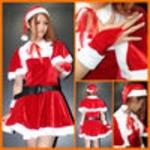 高品質◆ケープ付きサンタドレス 5点SET/クリスマス/サンタ/コスチューム/コスプレ/イベント/パーティ/仮装 2860020