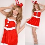 7115レッド/バニーサンタコスチューム3点セットクリスマス/コスプレ/コスチューム/パーティ/衣装