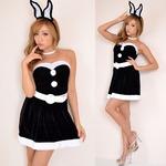 7115ブラック/バニーサンタコスチューム3点セットクリスマス/コスプレ/コスチューム/パーティ/衣装