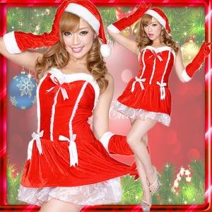 0911 Redリボンサンタコスチューム3点セット/クリスマス/コスプレ/コスチューム/パーティ/衣装/仮装  - 拡大画像