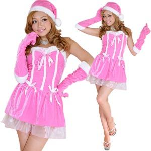 0911 Pinkリボンサンタコスチューム3点セット/クリスマス/コスプレ/コスチューム/パーティ/衣装/仮装  - 拡大画像