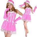 0911 Pinkリボンサンタコスチューム3点セット【クリスマス/クリスマス衣装/サンタクロース衣装/クリスマスコスプレ/コスプレ/イベント/パーティ/仮装】