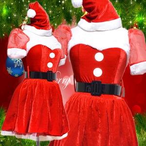 0905 Red お姫サンタコスチューム3点セット/クリスマス/コスプレ/コスチューム/パーティ/衣装/仮装  - 拡大画像