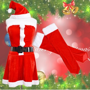 0904 Red アームカバーつきサンタコスチューム4点セット/クリスマス/コスプレ/コスチューム/パーティ/衣装/仮装  - 拡大画像