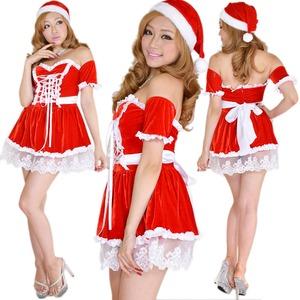 0907 Red リボン編み上げオフショルサンタコスチューム2点セット/クリスマス/コスプレ/コスチューム/パーティ/衣装/仮装  - 拡大画像