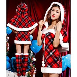 【クリスマス/チェックワンピケープ付き/チェック/サンタクロース衣装/コスプレ/コスチューム/イベント/パーティ/仮装/クリスマス衣装】9452
