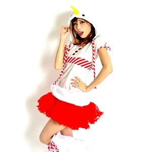 ふわふわボア♪キャンディースノーマンコスチューム♪4点SET【クリスマス/クリスマス衣装/スノーマン/雪だるま/コスプレ/コスチューム/イベント/パーティ/仮装】