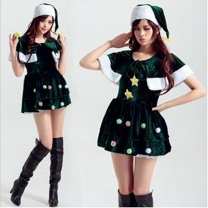 9708ツリーサンタ2点セット【クリスマス/クリスマス衣装/サンタクロース衣装/クリスマスコスプレ/コスプレ/イベント/パーティ/仮装】 - 拡大画像